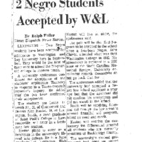 2 Negro Students Accepted By W&L